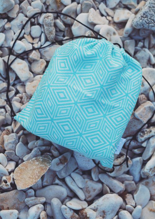 Draagdoektasje Little Frog Turquoise Cube