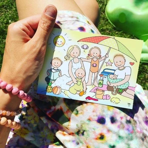 Postkaart Gezin
