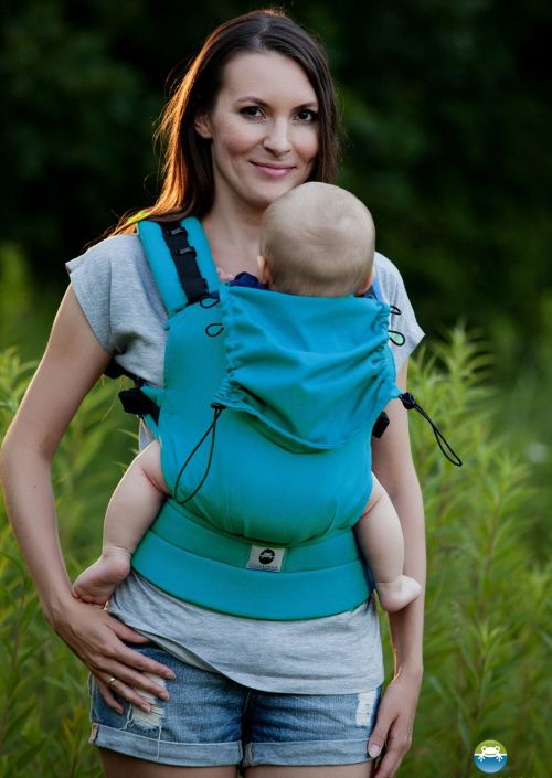 Little Frog Baby Carrier Petrol Herringbone
