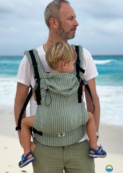 Little Frog Toddler Carrier Green Fishbone