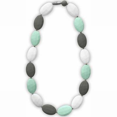 Itzy Ritzy Teething Happens Pebble Bead Necklace Mint Grey