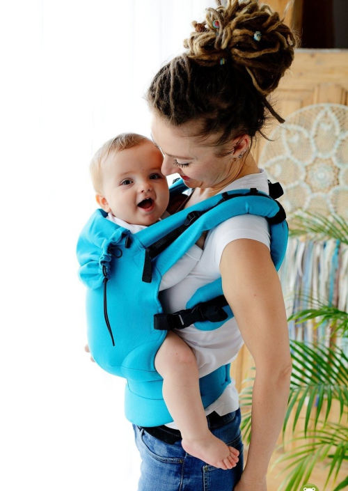 Little Frog Baby Carrier Turquoise Herringbone
