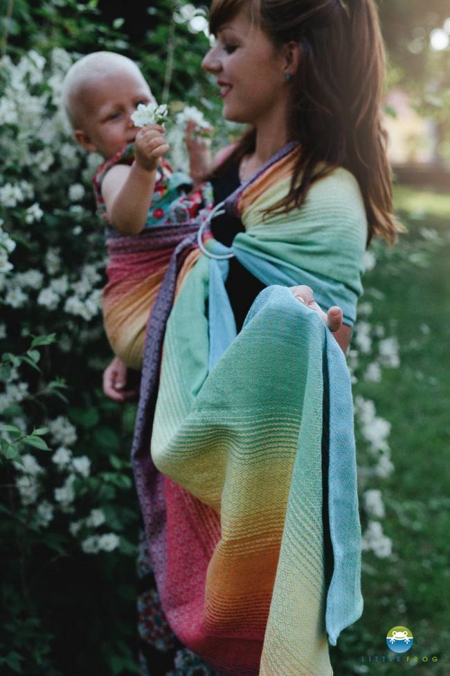 Ringsling Little Frog Lovely Linen Rainbow