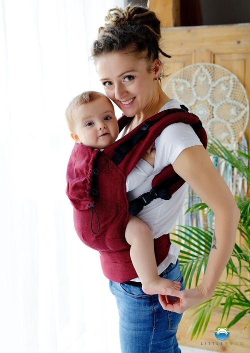 Little Frog Baby Carrier Ruby Herringbone