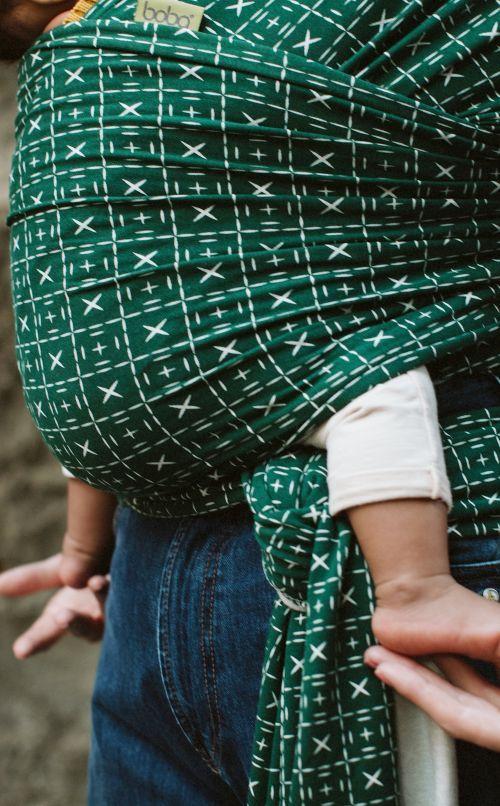Boba Wrap Bamboo Dark Green Mudcloth